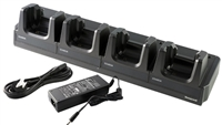 EDA60K four-bay terminal charging cradle for recharging 4 devices. Kit includes dock, power supply and US power cord.